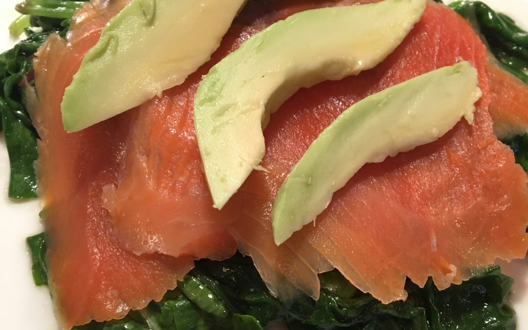Smoked Salmon with Sautéed Spinach